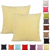 2 fundas de cojín decorativas Comoco®, color sólido, gruesas, 15 colores y 7 tamaños distintos, Amarillo, 40 x 40 cm