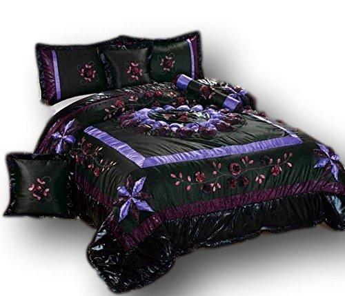 Tache 6TEILIGES Elegantes Midnight Lily Pond Patchwork Tröster-Set, Polyester-Mischgewebe, schwarz, California King