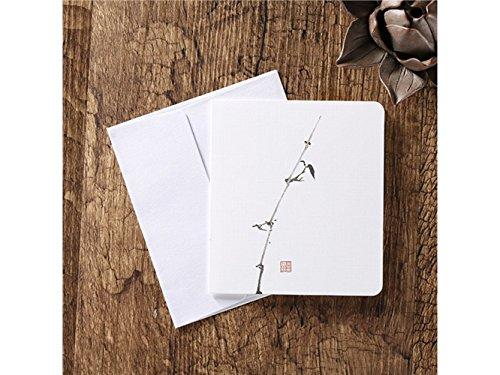 Suprerhoung biglietti d'auguri con buste biglietti d'auguri in bianco carte cinesi classiche stampa d'epoca floreale (bambù)