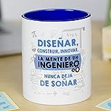 La Mente es Maravillosa - Taza frase y dibujo divertido (Diseñar, construir, innovar, la mente...