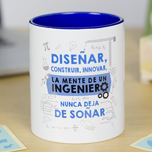 La Mente es Maravillosa - Taza frase y dibujo divertido (Diseñar, construir, innovar, la mente de...