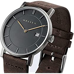 Meller Unisex Nag Earth Minimalist Watch with Grey Analogue Display and Leather Strap
