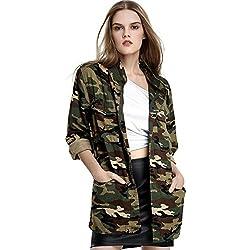 Escalier Mujeres bolsillos de camuflaje chaquetas abrigos Denim Vendimia Militar del Ejército Verde XL