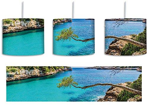 30 Cove Beleuchtung (Idyllische Ansicht des Mittelmeers am Mallorca Bay Cove inkl. Lampenfassung E27, Lampe mit Motivdruck, tolle Deckenlampe, Hängelampe, Pendelleuchte - Durchmesser 30cm - Dekoration mit Licht ideal für Wohnzimmer, Kinderzimmer, Schlafzimmer)