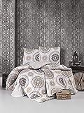 ZIRVEHOME Bettwäsche 240x220 cm. Beige/Braun, 3 teilige Baumwolle Bettbezug 100% Baumwolle/Renforcé, Reißverschluss, Model: Manila V1