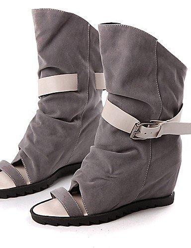 ShangYi Women's Shoes Heel Peep Toe Sandals Outdoor / Dress / Casual Black / Gray/Q1 , gray-us6 / eu36 / uk4 / cn36 , gray-us6 / eu36 / uk4 / cn36