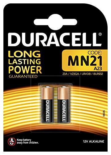 Square-batterie (Duracell Specialty Alkaline MN21 Batterie 12V, 2er-Packung (A23 / 23A / V23GA / LRV08 / 8LR932) entwickelt für die Verwendung in Fernbedienungen, Funktürglocken und Sicherheitssystemen.)