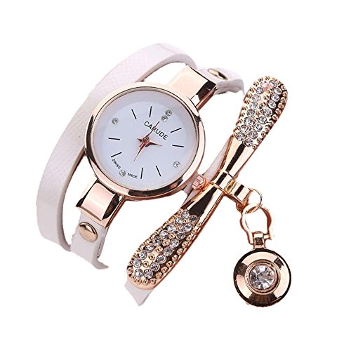 LILIGOD Frauen Leder Uhren Damenmode Strass Armband Analog Quarz Armbanduhren Vintage Elegant Damenuhr Tägliche Uhr Valentine Geschenk Schmuck Uhr mit dünnem Gürtelaufzug -