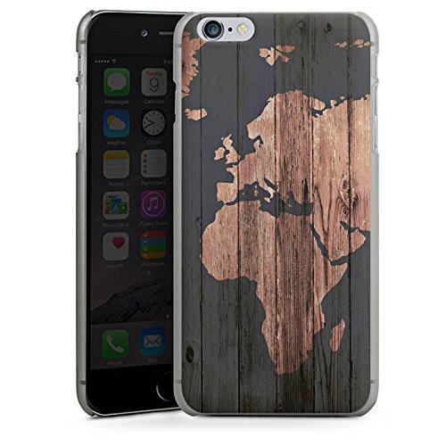 Apple iPhone 7 Hülle Case Handyhülle Weltkarte Holz Erde Hard Case anthrazit-klar
