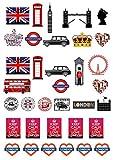 35 Support sur le thème londonien plaquette comestibles Papier Cake Toppers décorations