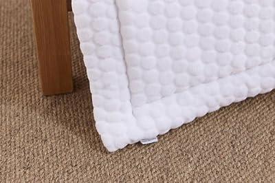 Clair de Lune Dimple - Juego de ropa para cuna (con colcha y protector de barrotes de cuna, tejido con acolchado a círculos), color blanco