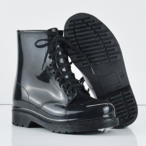LvRao Damen Wasserdichte Schnee Regen Absatz Schuhe Garten Stiefel Knöchel Boots Kurze Regenstiefel mit Schnürsenkel Schwarz