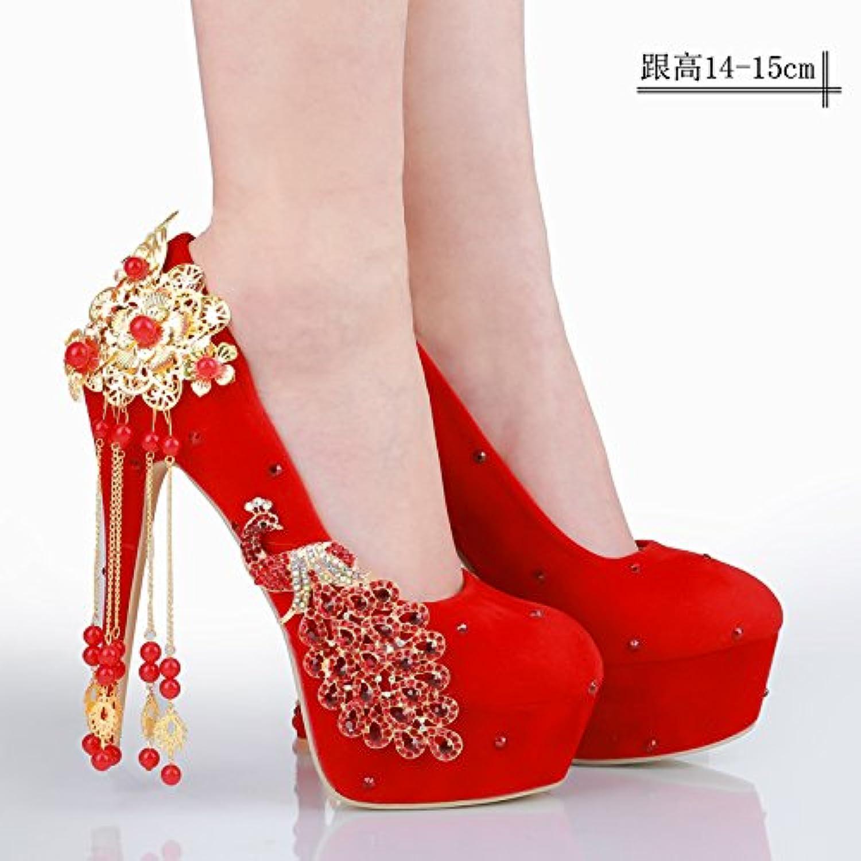 JINGXINSTORE Donne matrimonio scarpe retrò rosso scarpe scarpe scarpe da sposa reticolo con le scarpe di raso, 14-15cm, UK 4   Forte valore    Scolaro/Ragazze Scarpa  dd809c