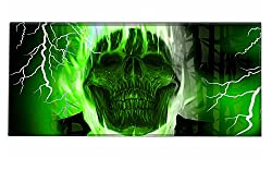 Silent Monsters Gaming & Office Mouse Mat Size Xxl (90 X 40 Cm) Design: Green Skull