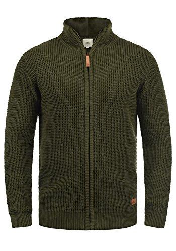 Redefined Rebel Mongo Herren Strickjacke Cardigan Grobstrick Mit Stehkragen Aus 100% Baumwolle, Größe:3XL, Farbe:Dark Olive