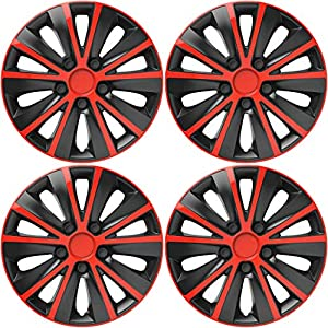 Versaco Rapide Red/Black 15 Inch Wheel Trims, Set of 4, Universal Fit for Most Vehicles