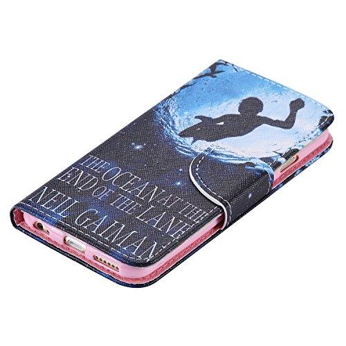 """Ooboom® iPhone 6S/6 4.7"""" Hülle Flip PU Leder Schutzhülle Handy Tasche Case Cover Wallet Standfunktion mit Kartenfächer für iPhone 6S/6 4.7"""" - Anker Welle Tauchen"""