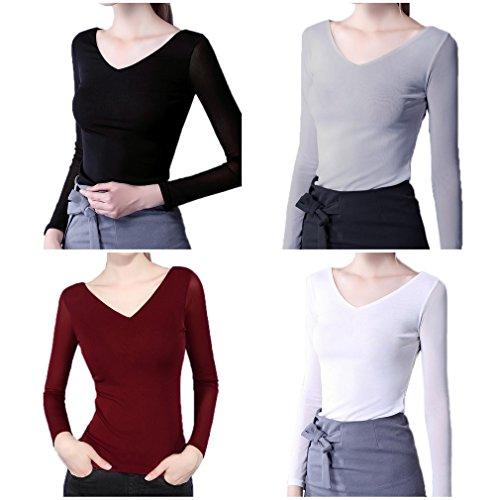 Smile YKK T-shirt Col V Femme Tulle Top Manches Longues Blouse Chemise Automne Printemps Noir