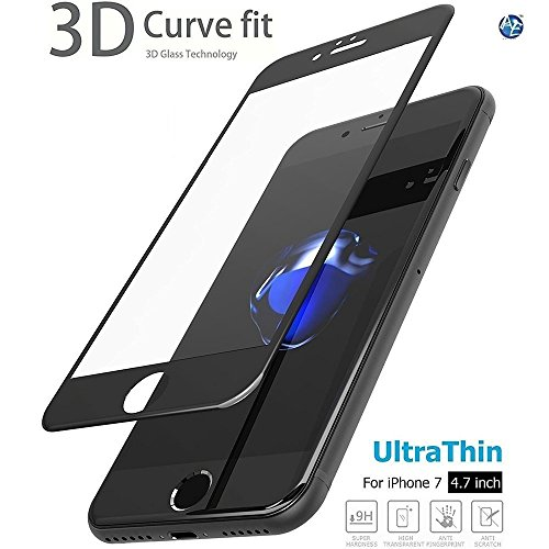 AE MOBILE ACCESSORIZE AEMA (TM) APPLE iPhone 7 Screen Protector (3D Glass),Curved Edge 3D Full Screen Tempered Glass edge premium series with high quality real tempered glass Screen Protector for Apple iPhone 7 (Black)
