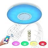 HOREVO 24W Sternenhimmel LED Deckenleuchte mit Bluetooth Lautsprecher Musik Deckenlampe, [APP Kontrolle] [ Ø40cm Dimmbar ], Sternenlicht mit Fernbedienung, Fit für Kinderzimmer Schlafzimmer Kinder Geschenk