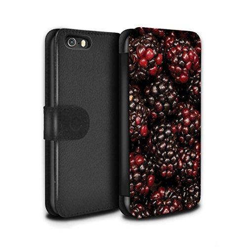 Stuff4 Coque/Etui/Housse Cuir PU Case/Cover pour Apple iPhone SE / Cassis Design / Fruits Juteux Collection Cassis