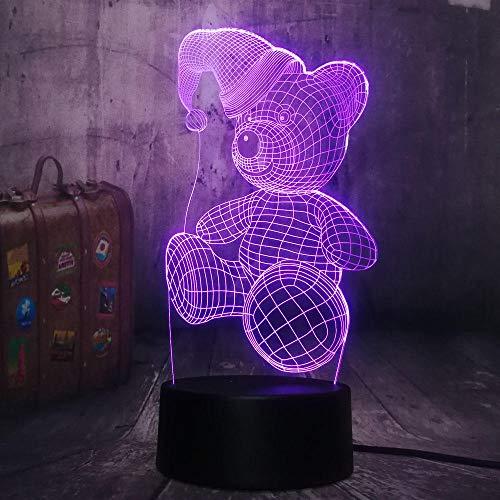 Netter Bär mit Hut LED 3D Nachtlicht 7 Farben Tischlampe Kind Neujahr Weihnachtsgeschenk USB Fernbedienung Licht Bestes Geschenk (Mit Harten Hut Spielzeug Licht)