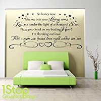 1Stop Graphics Shop - ED SHEERAN THINKING OUT LOUD WALL STICKER QUOTE - LOUNGE WALL ART DECAL X358 - Colour: Black - Size: Large