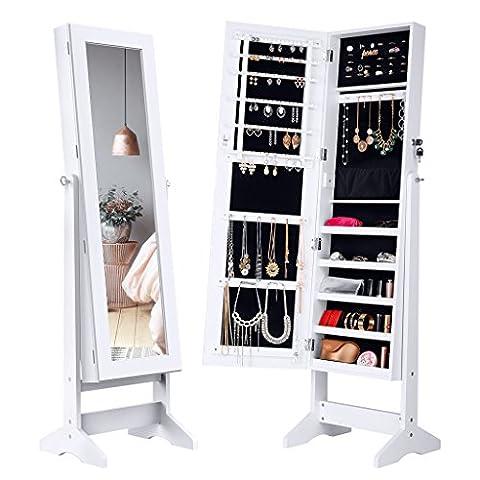 LANGRIA Armoire à Bijoux avec Miroir à pied, 4 réglable Angles penchés , un Stockage Spacieux pour les Anneaux, Boucles d'oreilles, Bracelets, Broches, Blanc