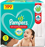 Pampers All round Protection Pants, Small size baby diapers (SM), 16 Count, Anti Rash diapers, Lotion with Alo