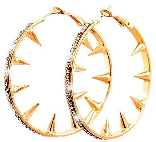 Creolen goldene-Damen Ohrringe 5cm Halloween Accessoire gelb-gold Metall Killer-Nieten Ohring Set 2Stk Halloween Fasching Karneval Killernieten mit Strass Woman Earrings gold-Killer blanks Star 5227