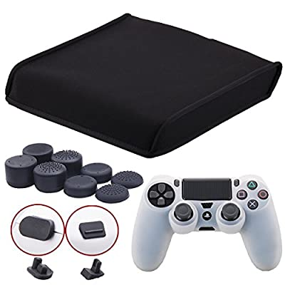 9CDeer Soft Neoprene Dirt Dust Protective Cover Black for PS4 Slim Horizontal Version + 1 Piece Controller Silicone Cover Skin clear white + 2 Pieces Controller Dust Proof Plugs + 8 Pieces Thumb Grips by 9CDeer
