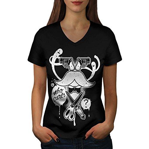 Berühmte Kostüme Schnurrbärte (Schnurrbart Gewehr Gangster Gewehr Spaß Gesicht Damen M V-Ausschnitt T-shirt |)