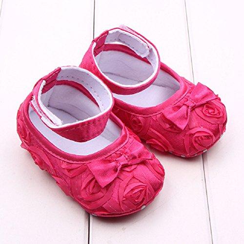 Saingace Filles Bambin Bébé Solide Rose Fleur Bowknot Tissu Chaussures (13(12.5cm), Rose) Rose vif