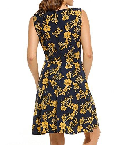 Vestito Donna Vintage Collo V Senza Maniche Casual Elegante Bohemian Floreale Stampa Retro Corto Abito Da Spiaggia Marina Militare