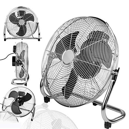 INTERIOR EXCLUSIVE ø 40cm Bodenventilator Chrome/Silber | besonders leise und stabile Windmaschine | Integrierter Thermoschutz | Schwenkfunktion stufenlos 0-90° | 3 Geschwindigkeiten | 100W