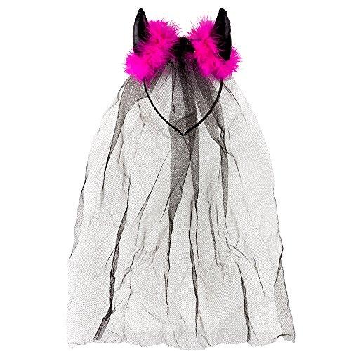 JGA-Schleier mit Teufelshörnern - Braut-Accessoire - Kopfschmuck für den Junggesellenabschied