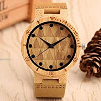 SMLSMGS Backpack Wooden Table Clocks Bamboo Wood Table Big Dial Watch Creative Personality Carved Wood Casual Men Quartz Watch Bamboo watch