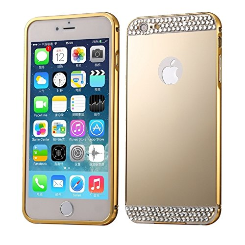 Phone case & Hülle Für iPhone 6 Plus / 6s Plus, Diamond verkrustet Push-Pull-Stil Metallbeschichtung Stoßfänger + Acryl Back Cover Kombination Fall ( Color : Gold ) Gold