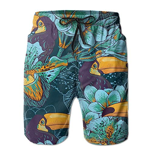 DD Decorative Retro Flowers Toucan Men's/Boys Casual Quick-Drying Bath Suits Elastic Waist Beach Pants with Pockets Large - Retro 12 Knit Pant