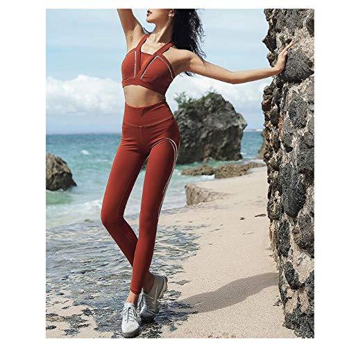 Chenyuying Frauen Yoga Set Stoß- Versammlung Schönheit zurück Sport-BH Drucken Hüften Strumpfhosen Jogginghose Zwei-teiliges Set. (Color : Caramel, Größe : XL) - 2