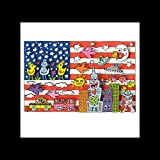 Stick It On Your Wall James Rizzi – Amerika Flagge Mini Poster – 40 x 40 cm
