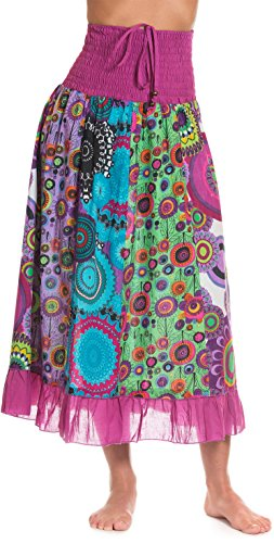 Gonna maxi o abito, colorato e decorato con il patchwork con fascia elastica in vita, ca. 100 cm rosa fucsia