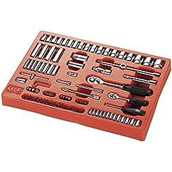 ALYCO 170910 - Bandeja de plastico para carro metalico HR con 94 piezas de llaves de vaso