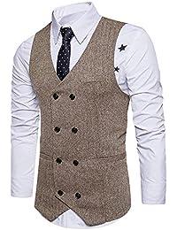 STTLZMC Chalecos de Trabajo Hombre V-Cuello Traje de Boda Negocios Slim Fit  Tweed a 198235cdf7c4