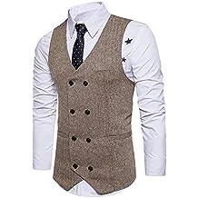 STTLZMC Chalecos de Trabajo Hombre V-Cuello Traje de Boda Negocios Slim Fit Tweed a