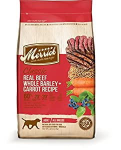 Merrick Classic Adult Real Beef, Whole Barley and Carrots Dry Dog Food, 5-Pound by Merrick