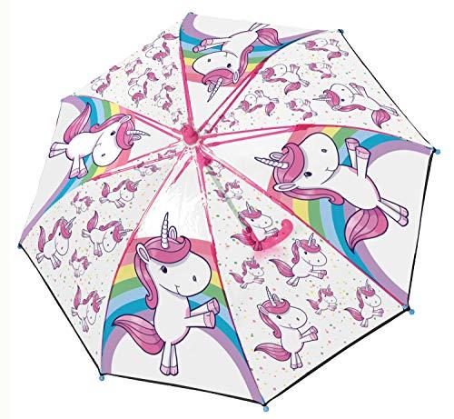 POS Handels GmbH Stockschirm mit Einhorn Motiv, Regenschirm für Mädchen, manuelle Öffnung und Fiberglasgestell Paraguas clásico, 62 cm, (Bunt)