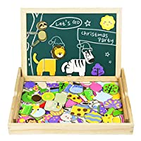 Akokie Wooden Toys Building Puzzle Board Magnetic Jigsaw for Kids 3 4 5 6 Years Old