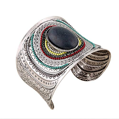 MHOOOA Vintage Silver Color Cuff Bracelets for Women Colorful Seed Beads Stone Open Wide Cuff Bracelets Bangles Jewelry -