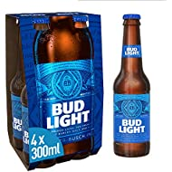 Bud Light Lager Bottle, 4 x 300ml